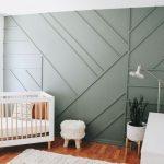 Creative modern wood paneling in a nursery