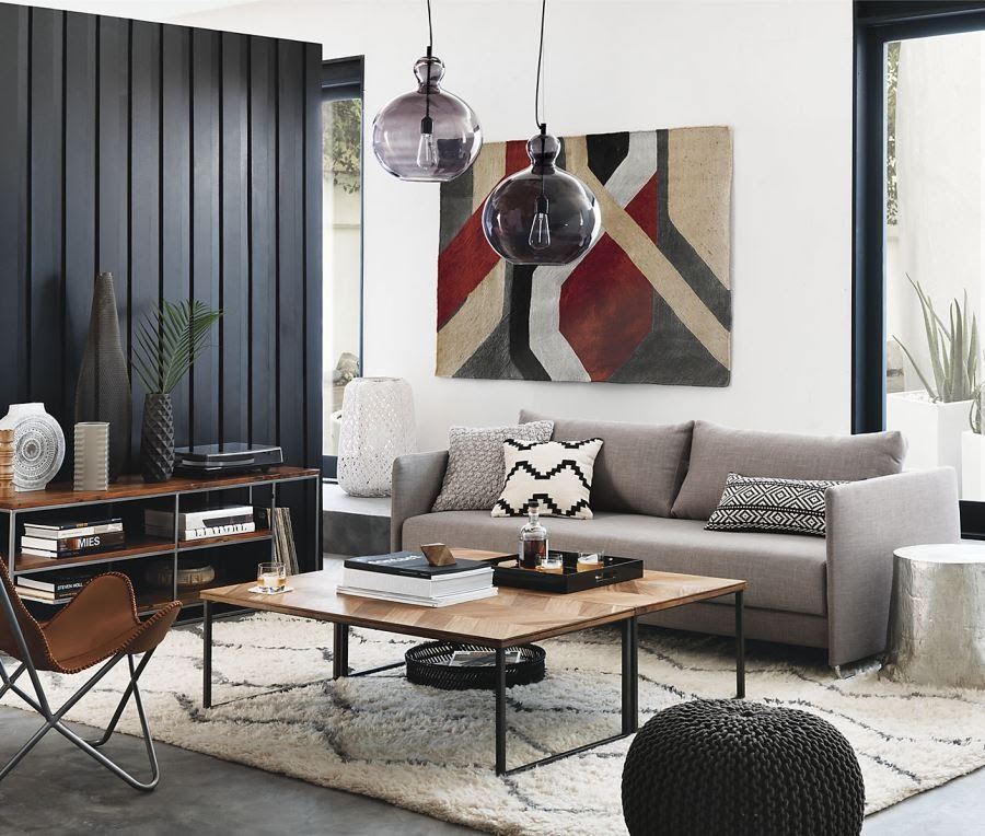 Black wood paneling in a white room