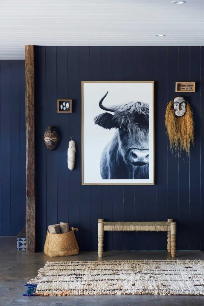 Wood paneling painted navy blue