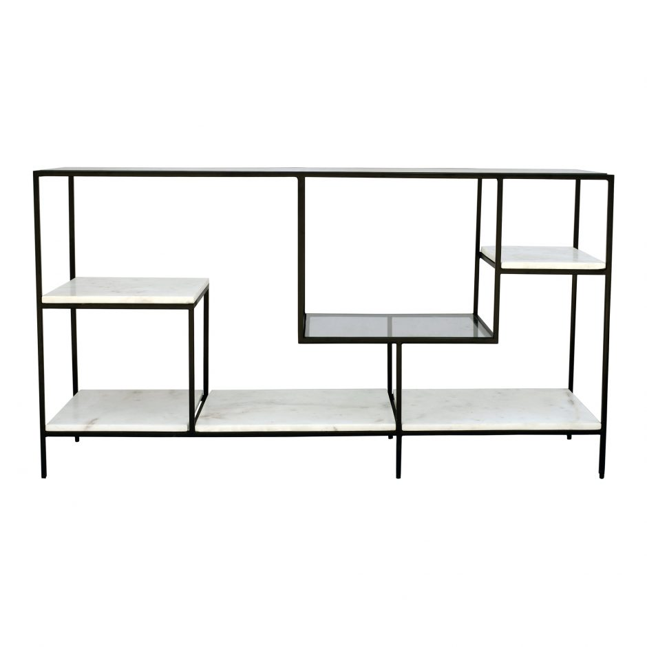 Stylish display shelf with clean lines and staggered marble shelves.