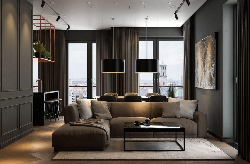 Contemporary style living room with black color scheme: two black pendant lights, black walls, and a taupe sectional sofa.