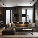 Example of a black color scheme in a living room