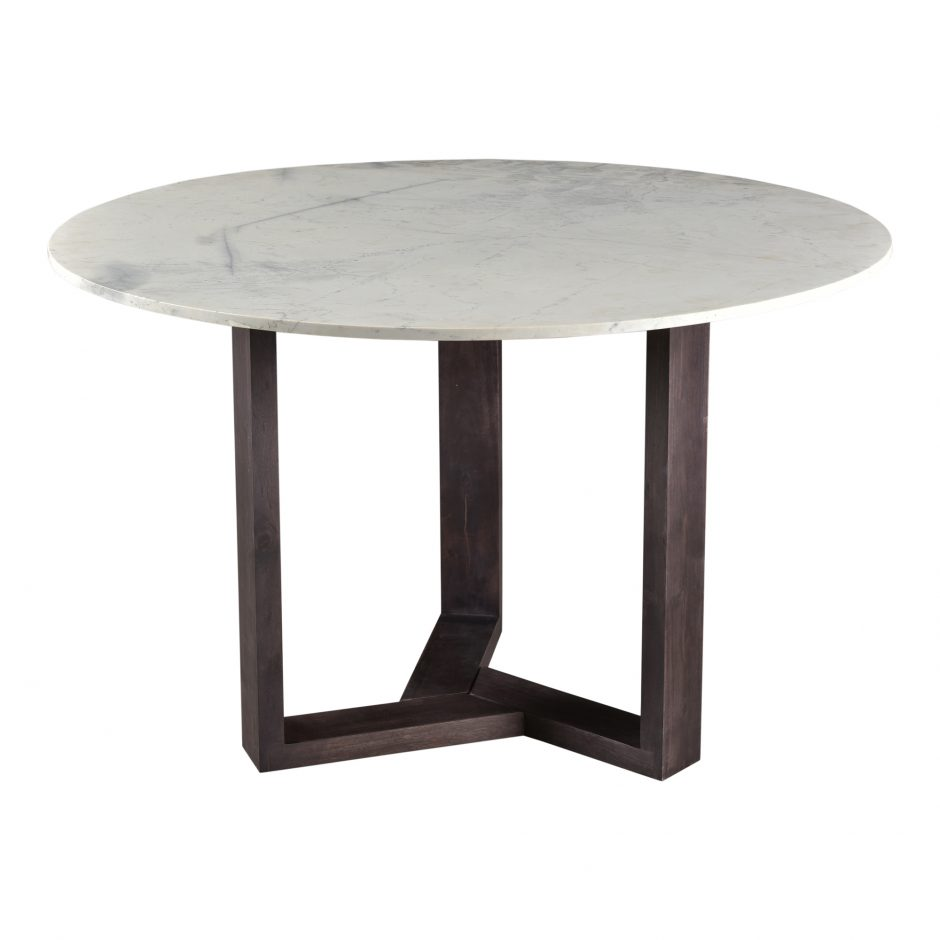 Round dining table with marble top and acacia wood base.