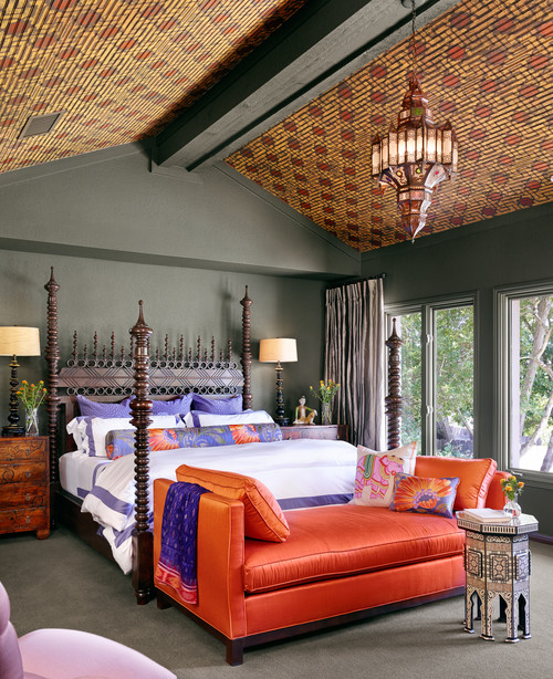 Moroccan style bedroom painted in Enduring Bronze, the Sherwin-Williams version of the world's ugliest color