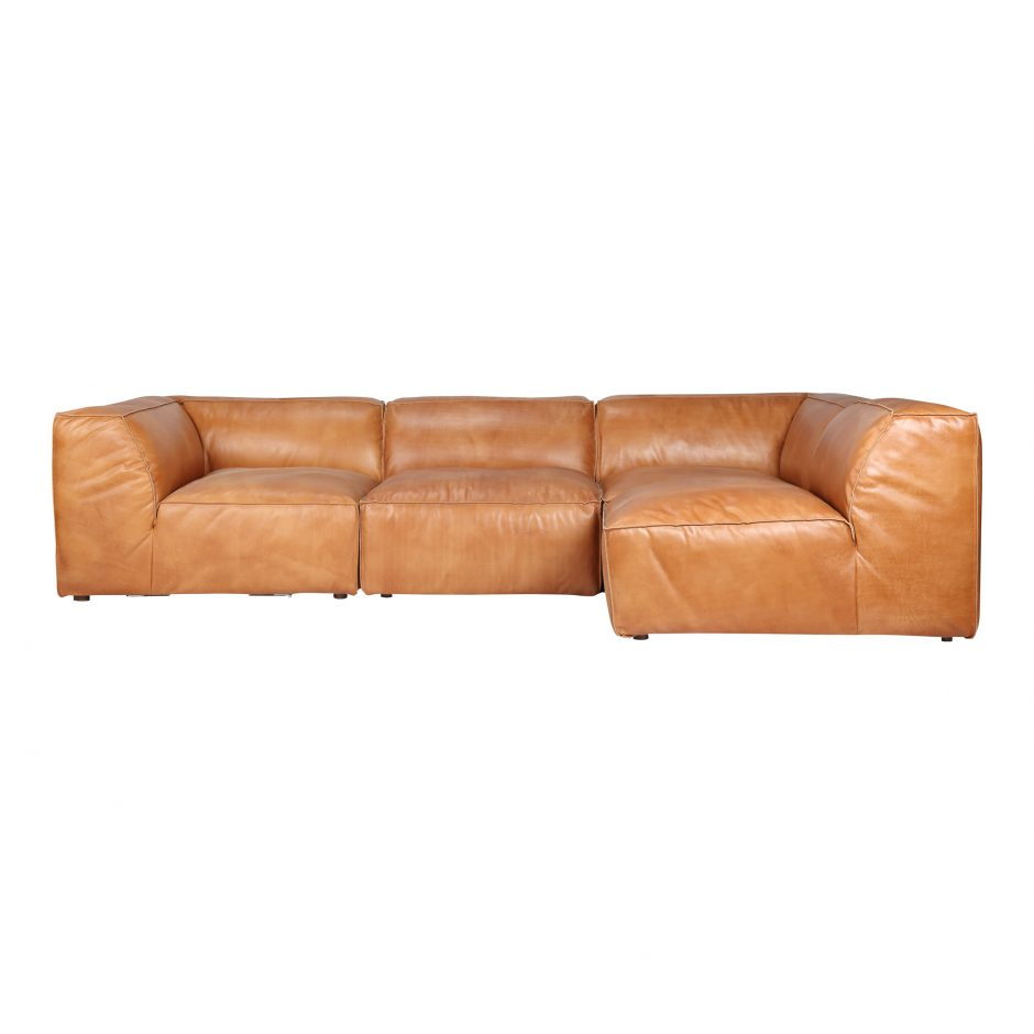 Tan leather sectional.