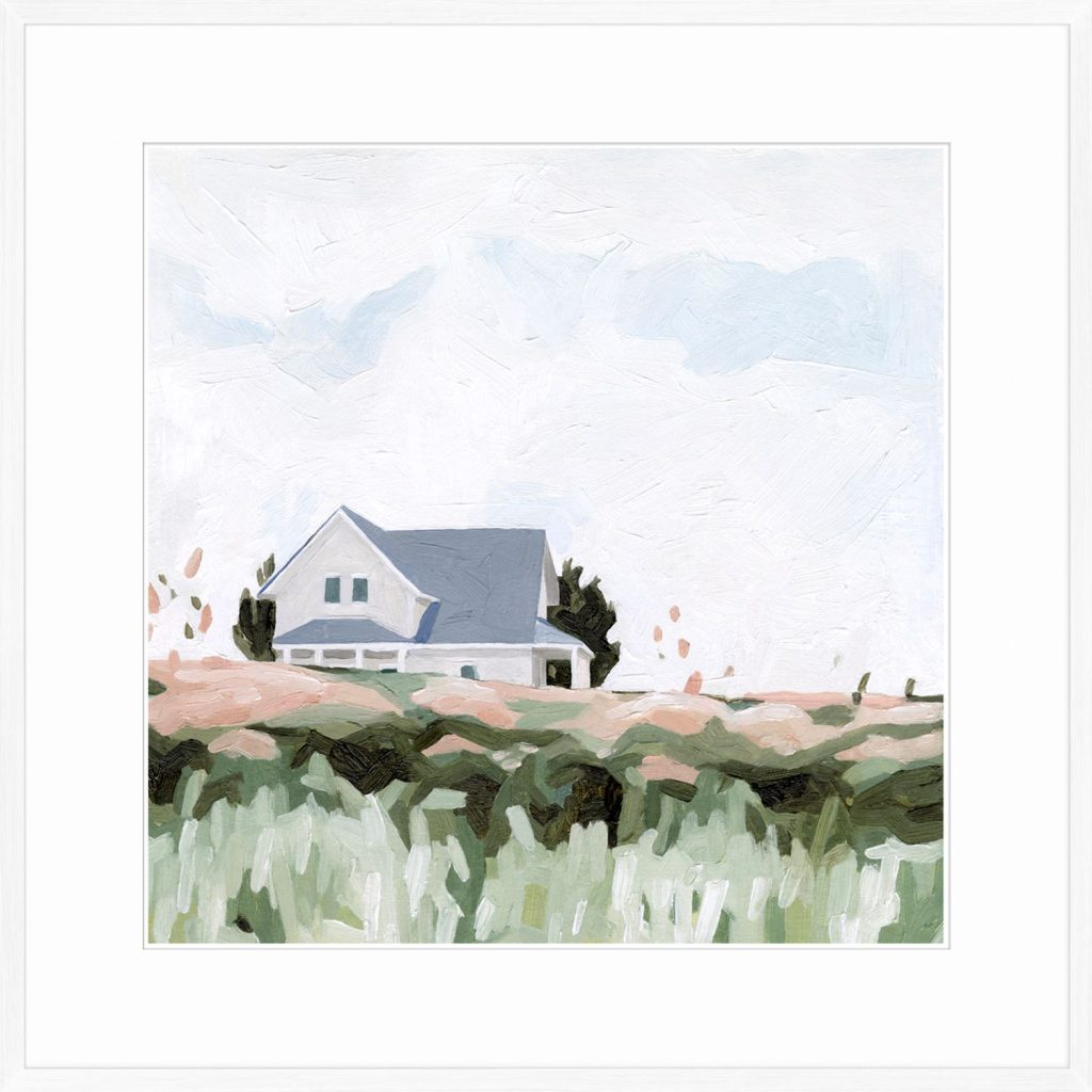 A painting of a house on a hill; blush and green grass contrasted against an open sky.