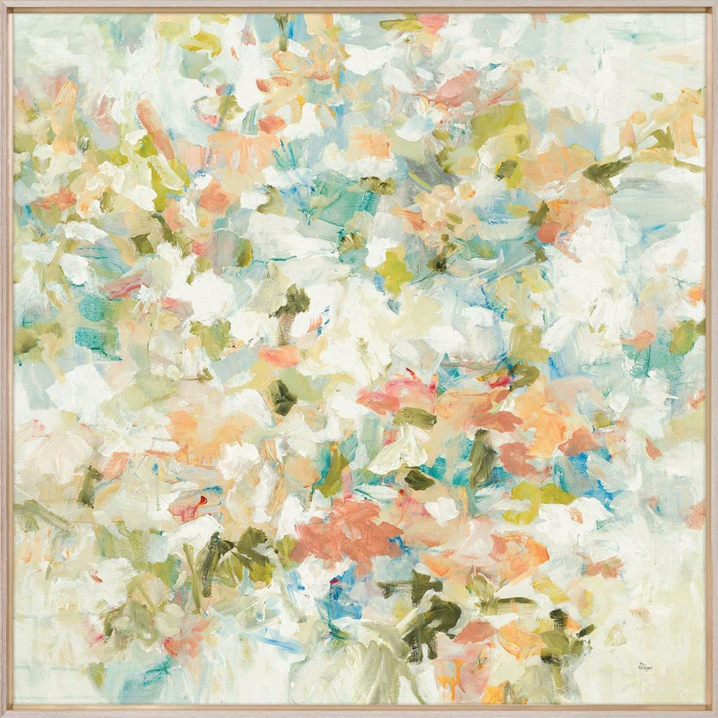 A floral painting with warm pastel colors.