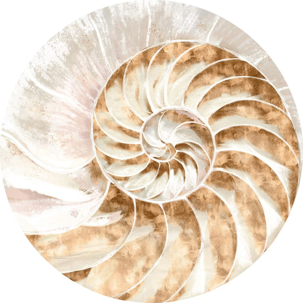 An acrylic shell piece with a swirl-like design in gold and blush tones.