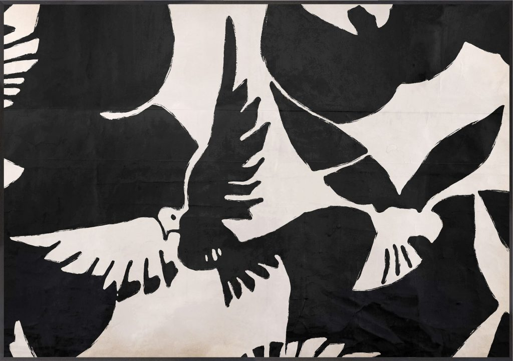 A black and ivory art piece with bird imagery.