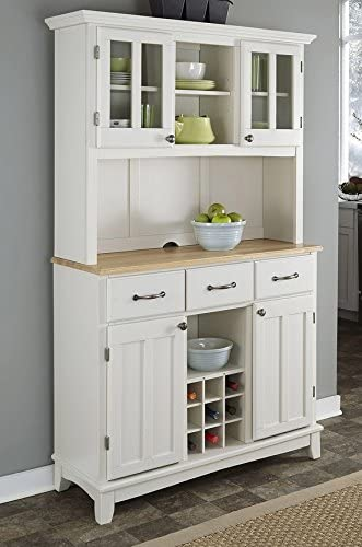 White buffet with hutch and wooden countertop.