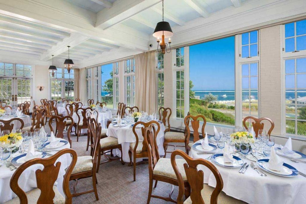 Dining area of Chatman Bars Inn with gorgeous ocean views.