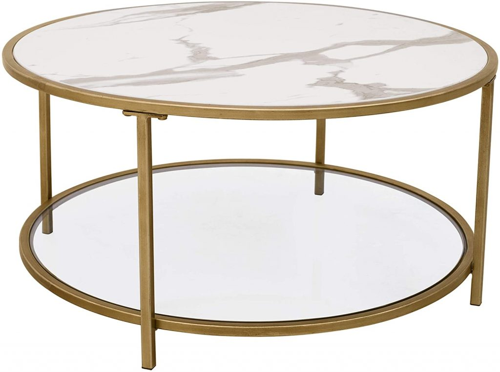 Round coffee table with faux marble top, gold finish metal base, and tempered glass bottom shelf.