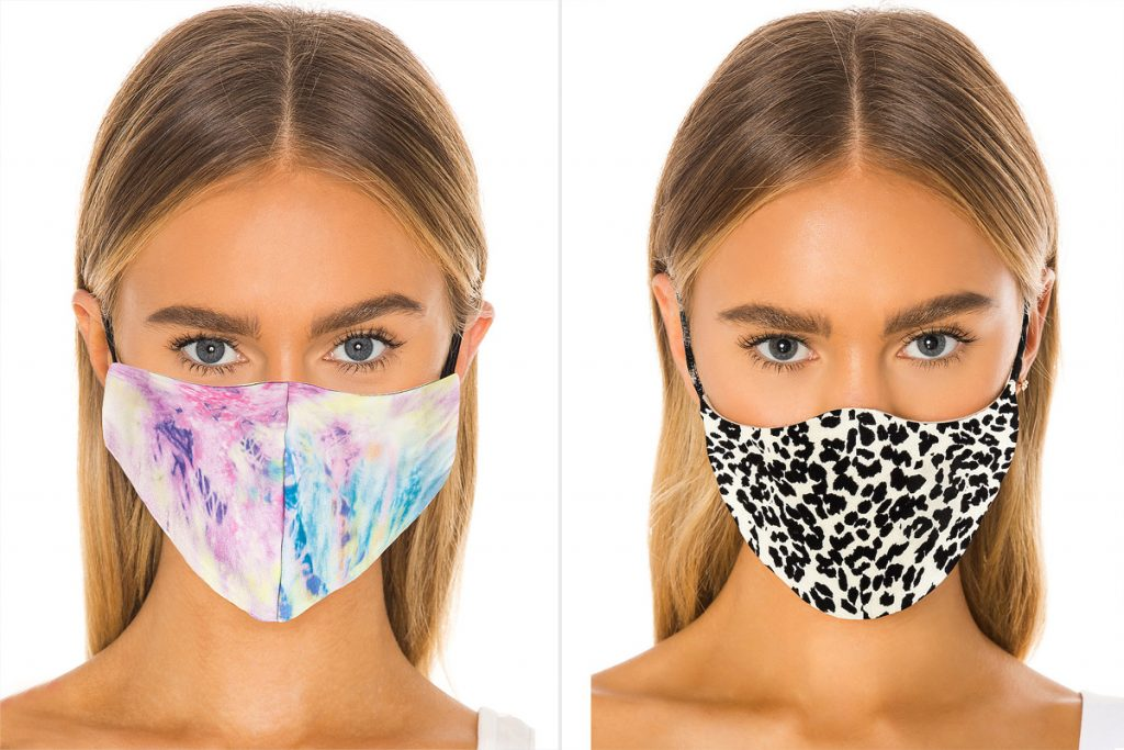Image of a girl wearing a tie-dye mask next to same girl wearing animal print mask.