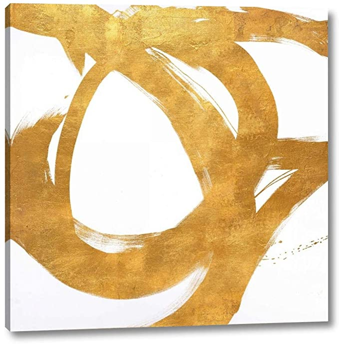 Art canvas with gold circular strokes.