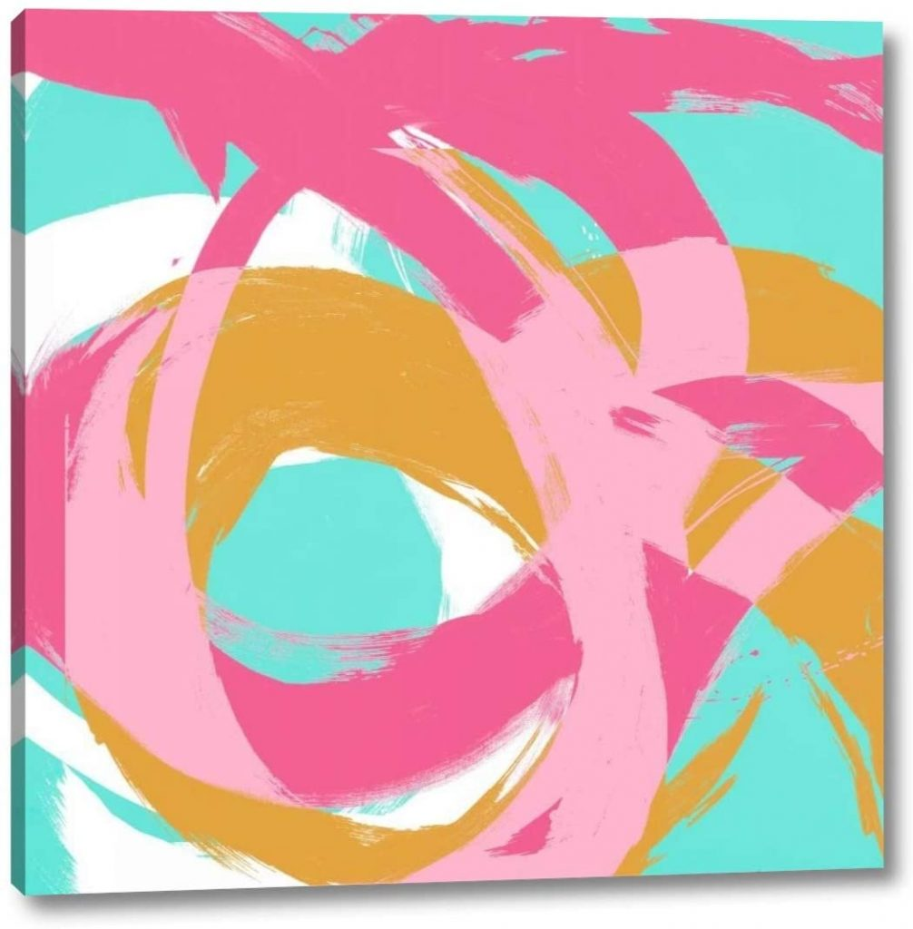 Colorful art canvas with pink, gold, and mint circular strokes.