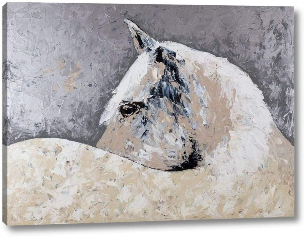 Horizontal art canvas zoomed in on a white horse.
