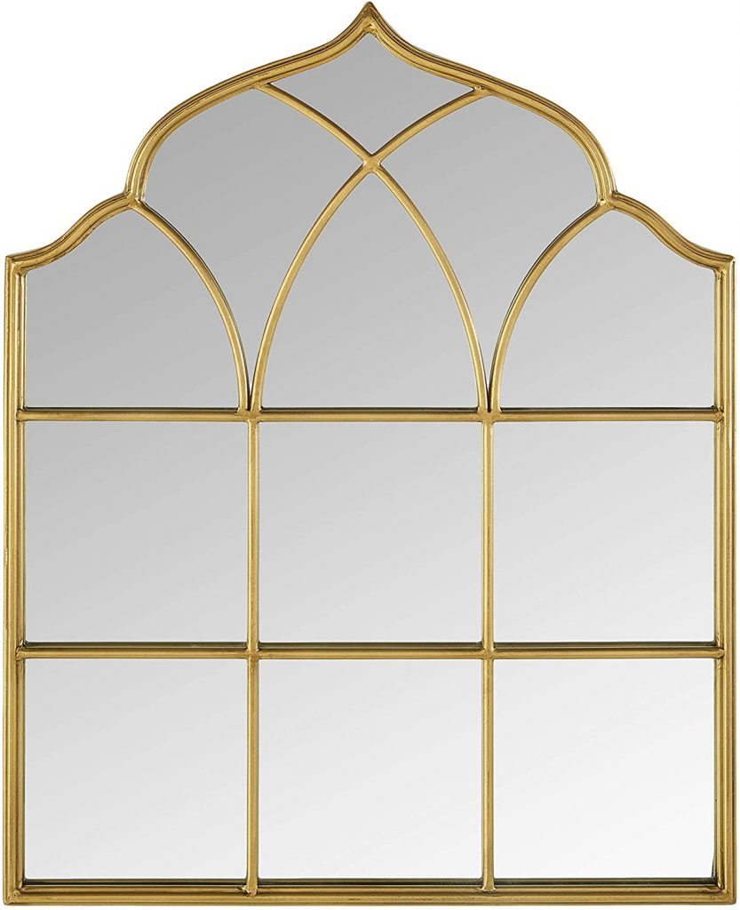 Gold decorative mirror shaped like a windowpane.