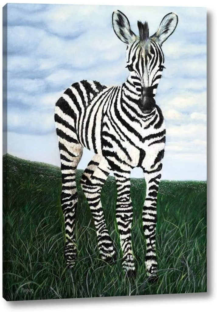 Vertical art canvas with a zebra standing at attention with sky and grass background.