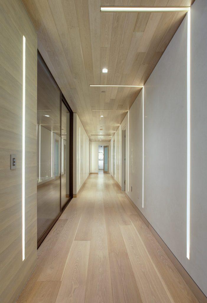 A hallway with innovative lighting.