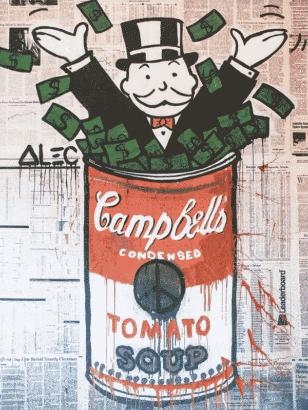 """Alec Monopoly's art piece entitled """"Park Place"""" which pictures Mr. Monopoly inside a Campbell's soup can filled with money."""
