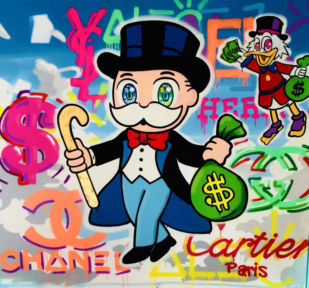 One of Alec's art pieces with Mr. Monopoly, Scrooge Duck, and designer brands in graffiti in the background.