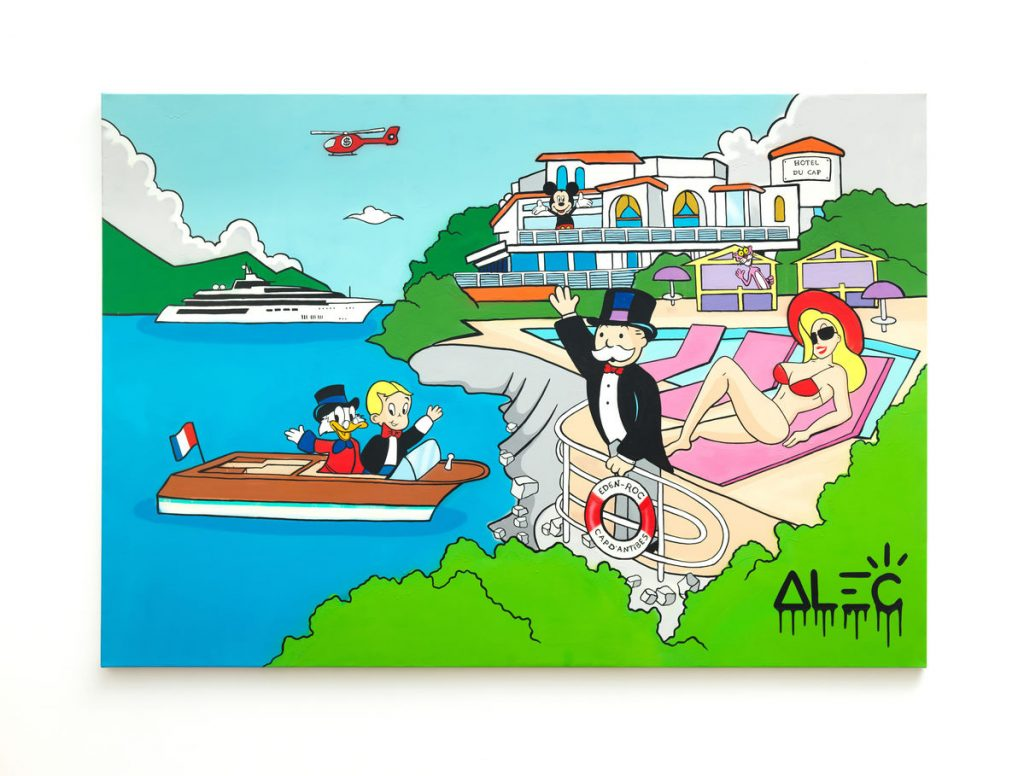 Alec's art piece with various characters with luxury hotel, yacht, and helicopter pictured.