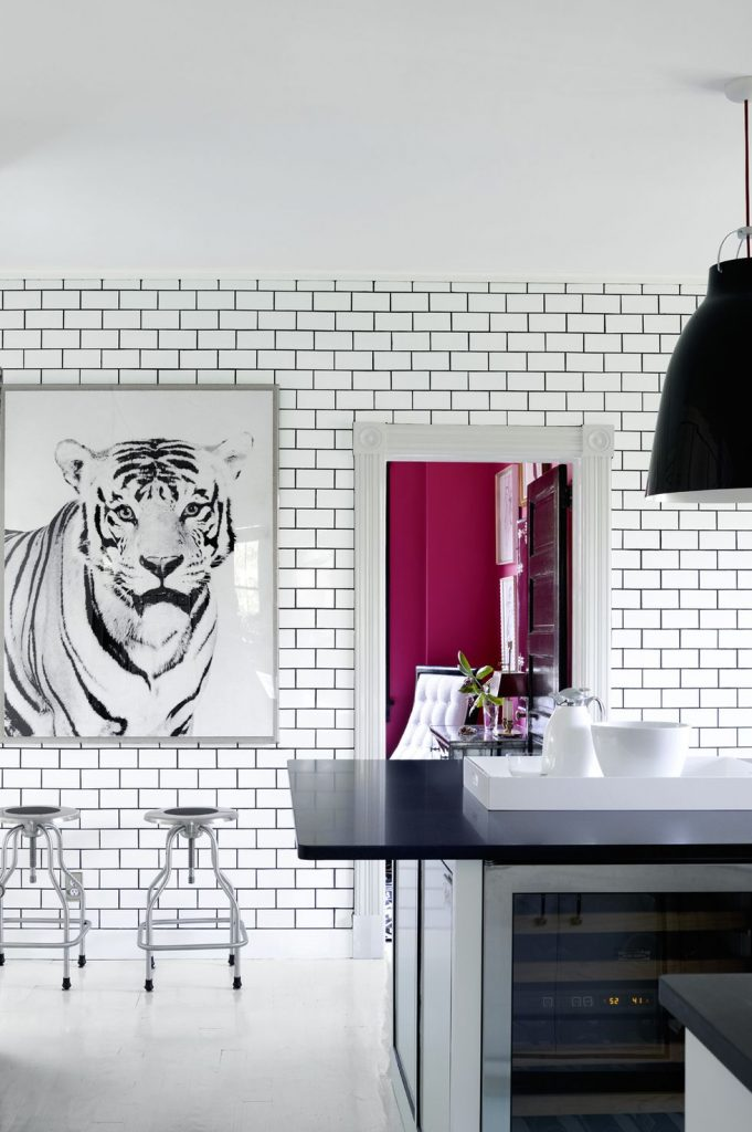 A large black and white photo of a tiger against white subway tile in a kitchen.