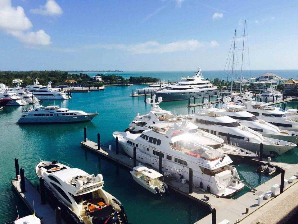 The Albany marina filled with mega yachts.