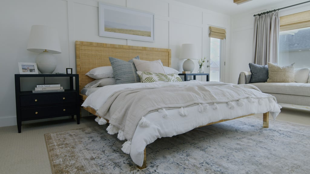 A bedroom with a Coastal style design.