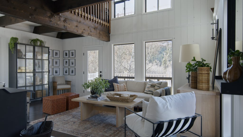 Living room area in a cabin with a modern bohemian design style.