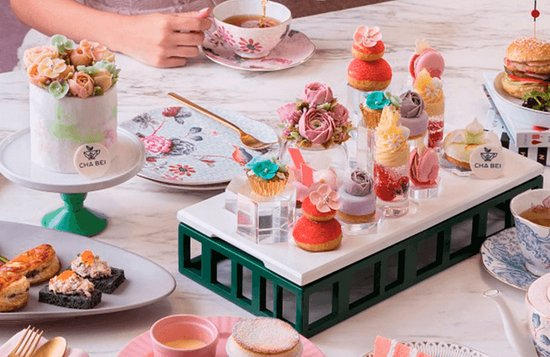 A gorgeous display of sweet treats and tea.