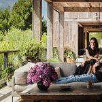 Mila Kunis and Ashton Kutcher on their outdoor balcony.