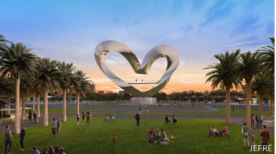 A rendering of JEFRË's upcoming sculpture for Port St. Lucie; it will be the world's largest heart sculpture.