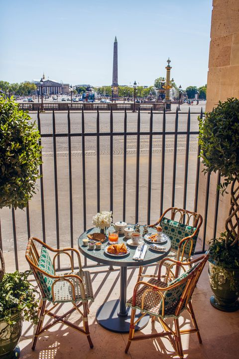 Outdoor terrace with view of Place de Concorde.